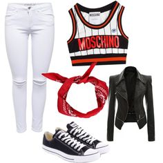 red black white by aqeelah-katongole on Polyvore featuring polyvore мода style Moschino Lipsy Converse