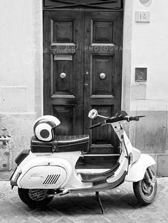 Vintage Vespa, doorway, Florence, Italy, Fine Art Photography, Black and White, Archival Photo Print by JulizGalleries on Etsy https://www.etsy.com/listing/270871647/vintage-vespa-doorway-florence-italy