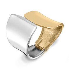 Bling Jewelry Modern Geometric Statement Bangle Cuff Bracelet