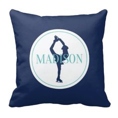 You will lovethis figure skatingsilhouette pillow, which includes your name! You can customize it in any of the colors from our palette or order it in the navy blue and aqua shown.  Perfect personalized touch for any girl's bedroom decor.