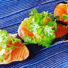 This weeks special @ichinistkilda  Salmon tataki dressed with wasabi ponzu gel. #salmon #tataki #ponzu #wasabi #chervil #ichini #stkilda #melbourne #foodphotography #sexisushi #instafood #melbournefood #delicious  Photography - @squidboy by ichinistkilda