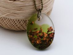 Jade green gold flakes resin oval pendant gold flakes necklace resin pendant handmade jewelry by AndanRez on Etsy