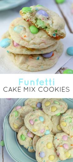 14 Easy Easter Dessert Recipes - Best Id. - 14 Easy Easter Dessert Recipes – Best Ideas for Kids and For a Crowd Best Picture For Easter Rec - Funfetti Cake Mix Cookies, Funfetti Kuchen, Cookies Et Biscuits, M&m Cookie Cake Recipe, White Cake Mix Cookies, Birthday Cake Cookies, Cake Mix Cupcakes, Desserts Ostern, Biscuits