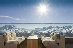 The Romantik Hotel Muottas Muragl is located in the Engadin St. Moritz region. First plus-energy hotel in the Alps, 2,456 metres.