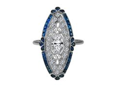 Engagement Ring -Art-Deco Oval Diamond Engagement Ring Blue Sapphire Halo in 14K White Gold-ES1342