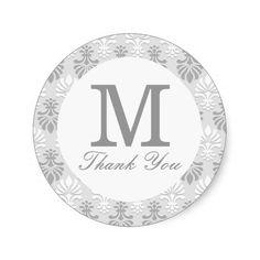 Silver Gray Print Pattern -  Thank You Monogram Round Stickers