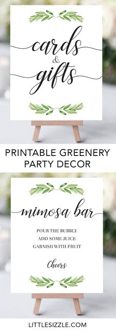 Greenery party decor by LittleSizzle. Printable Green Party decorations. Make decorating your botanical party a fun and easy DIY project with these printable signs. Cards and gifts sign, mimosa bar sign and party thank you favors signs to print at home. Add a lovely touch to your greenery shower with these neutral party decorations. #babyshowerideas #green #DIY #printable #partydecor #decorations #babyshowerthemes #neutral #greenery #botanical #boho