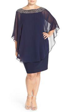 70384a9718755 Main Image - Xscape Embellished Chiffon Overlay Jersey Sheath Dress (Plus  Size) Poncho Dress