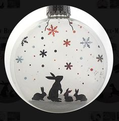 Glass Snow Bunnies Holiday Ornament by Glak Love on Scoutmob Shoppe Ball Ornaments, Glass Christmas Ornaments, Christmas Balls, Diy Christmas Gifts, Christmas Projects, All Things Christmas, Christmas Holidays, Christmas Decorations, Xmas