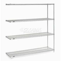 "54""H Nexel Chrome Wire Shelving Add-On - 72""W X 14""D by GLOBAL INDUSTRIAL NY. $154.95. Nexel Chrome Wire Shelving Add-On Unit Designed for Years of Heavy Duty Service Includes 2 posts with leveling feet, 4 shelves, snap-on sleeves to secure shelves to posts and 8 S-hooks to join shelving units -- everything needed to build unit shown. Electroplated nickel-chrome is durable and chip resistant and attractive for use in retail display. Customize your shelving with add..."