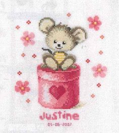Pink Mouse Birth Sampler Cross Stitch Kit by Vervaco