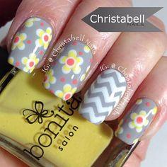 Gray, Yellow & Coral Flower and Chevron Nails Spring Nail Art, Spring Nails, Summer Nails, Pretty Nail Designs, Nail Art Designs, Simple Designs, Floral Nail Art, Flower Nails, Daisy Nails