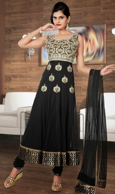 Mark your presence by stepping out in this black tissue and brocade embroidered Anarkali suit. The ethnic lace, patch, resham and stones work with apparel adds a sign of attractiveness statement with your look. Brocade might vary from actual image. #NewDesignerWear