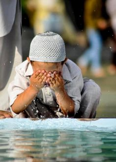 Boy Making Wudu (Ablution) Originally found on:... • Islamic Art and Quotes