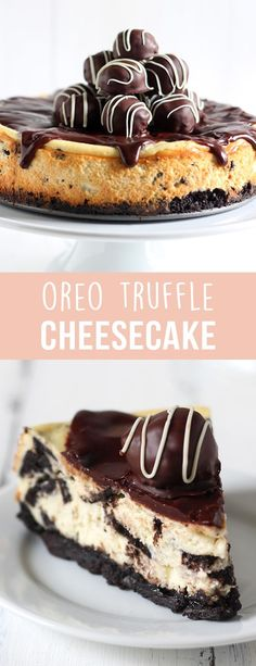 Oreo Truffle Cheesecake is a completely over-the-top sinful dessert with an Oreo crust, Oreo cheesecake filling, chocolate ganache, and Oreo truffles on top! Holy YUM.