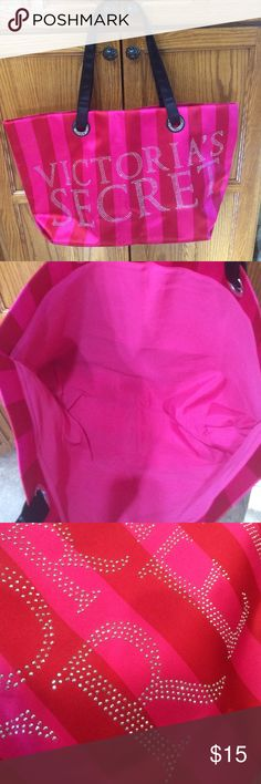 Victoria's Secret tote Large tote satin like fabric with bling. Great size for going overnight or to the gym . Like new, perhaps unused ever Victoria's Secret Bags Totes