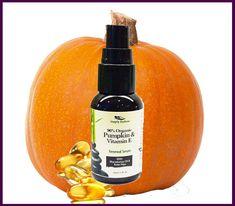 Organic Pumpkin + Vitamin E Serum|Anti Aging Serum Skin Care rebuilds collagen |Natural Vitamin E Serum, Vegan, Paleo, Gluten Free