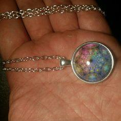 Mandala Necklace Fractal Abstract Mandala Necklace Hexagon Pendant Vintage Spiritual Healing Om Necklaces Women Jewelery Blue Purple Pink Jewelry Necklaces