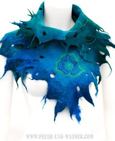 Felted scarves Heart Chakra handmade felted by FeuerUndWasser, $125.00