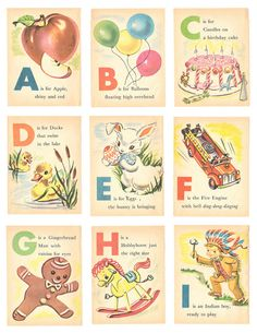 Baby's First ABC - Vintage Inspired Illustrated Childrens Alphabet Cards - Ephemera - Digital Collage Sheet - Printable - Instant Download by LaLunaRossaDesigns on Etsy