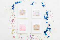 Get the how-to for these darling confetti birthday cards