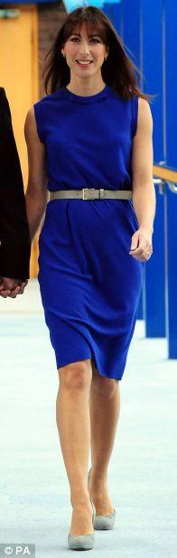 Best: Samantha Cameron wore a Joseph (£345) with LK Bennett grey Harper hells (£195)