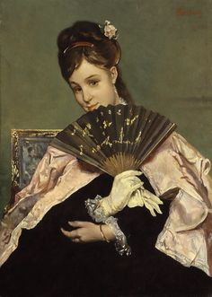 Madame de Pompadour (Portrait of a young Lady holding a fan by Alfred. Alfred Stevens, James Ensor, Portraits, Whistler, Art Themes, Poses, Figure Painting, Paintings For Sale, Beautiful Paintings