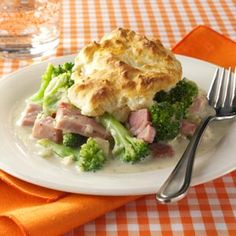 Ham and Broccoli Biscuit Bake~~ use homemade from do-it-yourself cream soup to cut back on sodium.  Could also use low-sodium ham.
