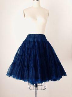 Vtg 50s Midnight Blue Petticoat Crinoline by PenelopeandtheSea