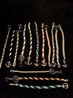 Nautical rope anchor bracelets