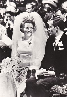 Queen, now Princess, Beatrix on her wedding day with Claus von Amsberg, who died in 2002.