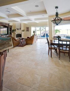 Spacious living room with travertine tiles click the image or link for more info. Living Room Flooring, Living Room Kitchen, My Living Room, Kitchen Flooring, Dining Room, Kitchen Tile, Living Area, Travertine Floors, Terrazzo Flooring