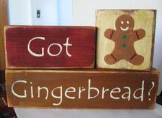 christmas+plaques | Primitive Shelf Blocks got Gingerbread Christmas Sign Wooden | eBay
