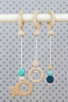 Handmade hangers toys for baby gym set of three Eco Baby, Baby Gym, Third Baby, Wooden Rings, Wooden Beads, Hangers, Kids Toys, Baby Gifts, Basket