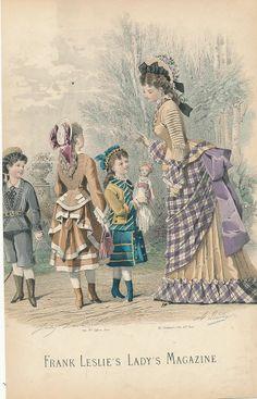 lovely original antique hand color fashion print c.1870. purple plaid bustle dress