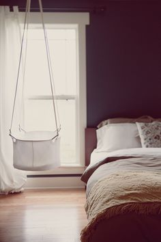 hanging cradle in our master bedroom… that's an idea! Hanging Bassinet, Hanging Cradle, Hanging Crib, Pink And Gray Nursery, White Nursery, Baby Bassinet, Baby Cribs, Tiny House Living, Cozy House