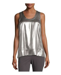 Brunello Cucinelli Laminated Silk Sleeveless Top, Silver - on #sale 81% off…