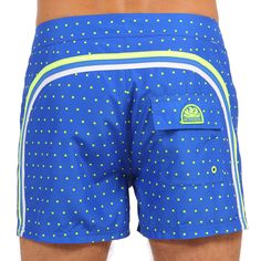 POLKA DOTS PRINT MID-LENGTH SWIM SHORTS WITH RAINBOW BANDS COLOR SAPPHIRE (M502BDP02PO-001) | Man Sundek