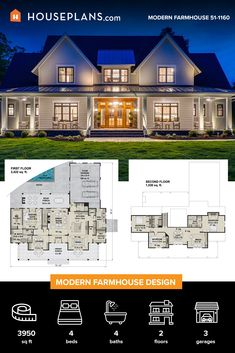Country House Plans, Dream House Plans, House Floor Plans, My Dream Home, Home Design Floor Plans, Architectural Design House Plans, Modern Farmhouse Exterior, Sims House, House Layouts