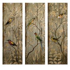 CC Home Furnishings Set of 3 Tranquil Botanical & Bird Wall Decor Panels 42