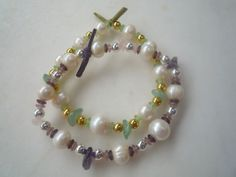 Summer Beaded White Freshwater Pearls Stretchy by urbaneprincess, $28.00