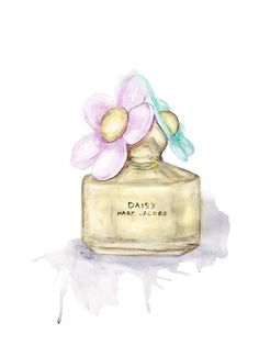 liz meester , water color effect pastels perfume daisy marc jacobs