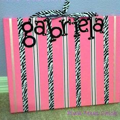 : A Pink and Zebra Hair Bow Holder