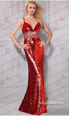 http://www.ikmdresses.com/unique-spaghetti-straps-crystal-adorned-empire-waist-low-V-neck-all-over-sequin-gown-p60128
