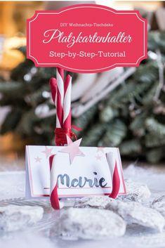 Fimo-Zuckerstangen als Platzkartenhalter - perfektes DIY für die weihnachtsliche Festtafel