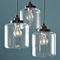 3-Jar Chandelier #WestElm  I've been trying to decide on a dining room light for months now, I know I want something in 3s.