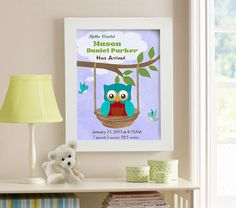 Birth Announcement  Boys Nursery  Owls  Nursery Art  by MuralMAX, $20.00