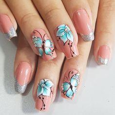 Curly Crochet Hair Styles, Butterfly Nail Art, Chic Nails, Beautiful Nail Designs, Nails Inspiration, Pedicure, Nailart, Make Up, Close Up