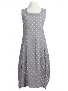 Damen Leinenkleid mit Punkten, grau