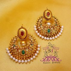 Online Shopping for Polki Multicolour Chaand Baali  | Earrings | Unique Indian Products by Sanvi Jewels Pvt. Ltd. - MSANV73118790770
